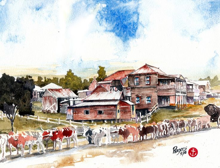 Royal George Hotel and Bullock Team at Nambour Queensland, Australia. (Artist:  Kevin Rogers)
