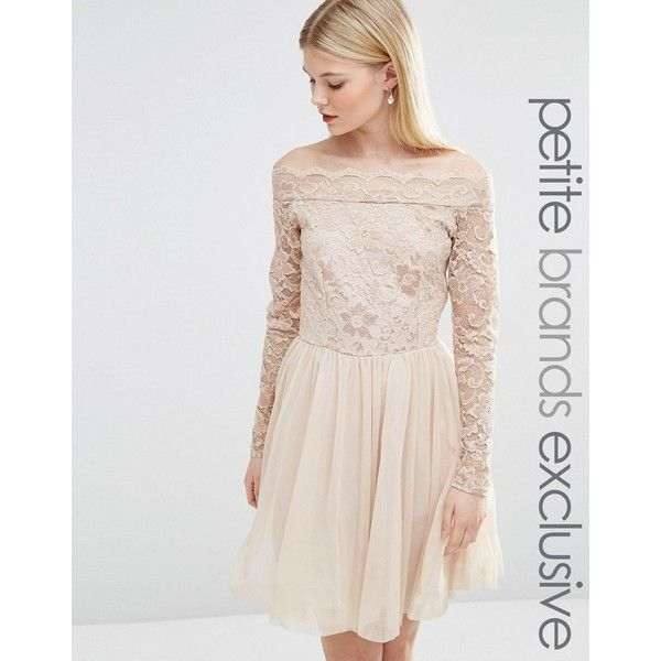 John Zack Petite Lace Top Bardot Mini Dress With Tulle Skirt ($26) ❤ liked on Polyvore featuring dresses, vestidos, beige, petite, beige cocktail dress, petite dresses, lace mini dress, off shoulder dress and lace dress