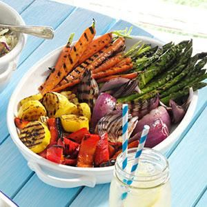 Grilled Vegetable Platter Recipe-  i used squash, red/orange bell peppers, onions and broccoli.  Turned out delicious!  Just don't overcook or veggies can get mushy.