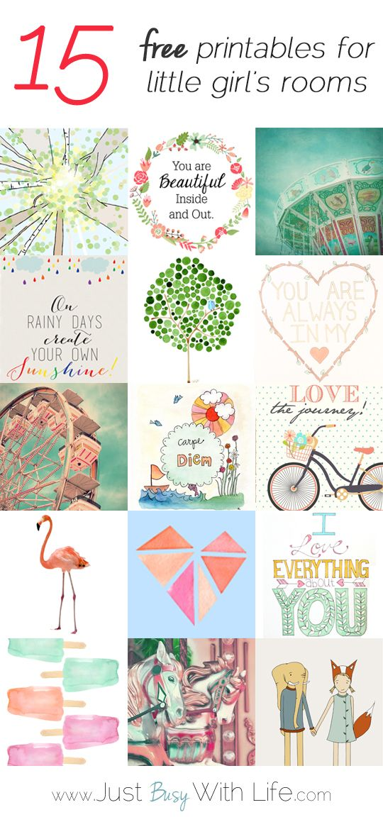 A roundup of 15 free printables for a little girl's room - Printables Girl Room-JustBusyWithLife.com