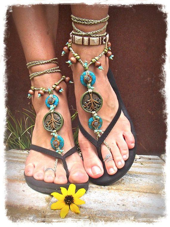 Yggdrasil TREE of life BAREFOOT SANDALS Turquoise Stone artisan tan crochet sandals foot jewelry Bohemian beach sandals Earthy Wedding via Etsy