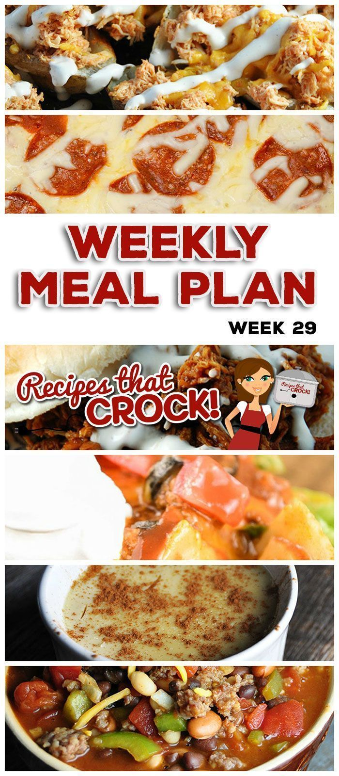 This week's weekly menu features Crock Pot BBQ Ranch Chicken Buns, Crock Pot Taco Ravioli Casserole, Crock Pot 3 Bean Pork Chili, Crock Pot Rosemary Garlic Pork Loin, Crock Pot Parsley Potatoes, Crock Pot Pizza with Mac 'n Cheese Crust, Crock Pot Vanilla Custard, Crock Pot Buffalo Chicken Potato Skins and Crock Pot Apple Coffee Cake.