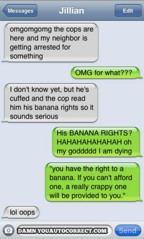 """Intended word: """"Miranda,"""" not """"banana.""""    This text was sent from the site's founder, Jillian Madison."""
