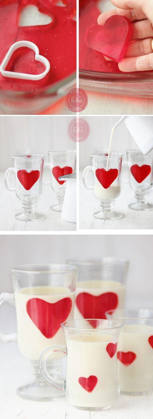 Panna cotta de chocolate blanco y corazones de gelatina para el desayuno. Foto y Receta: kanelaylimon.blogspot.com.es