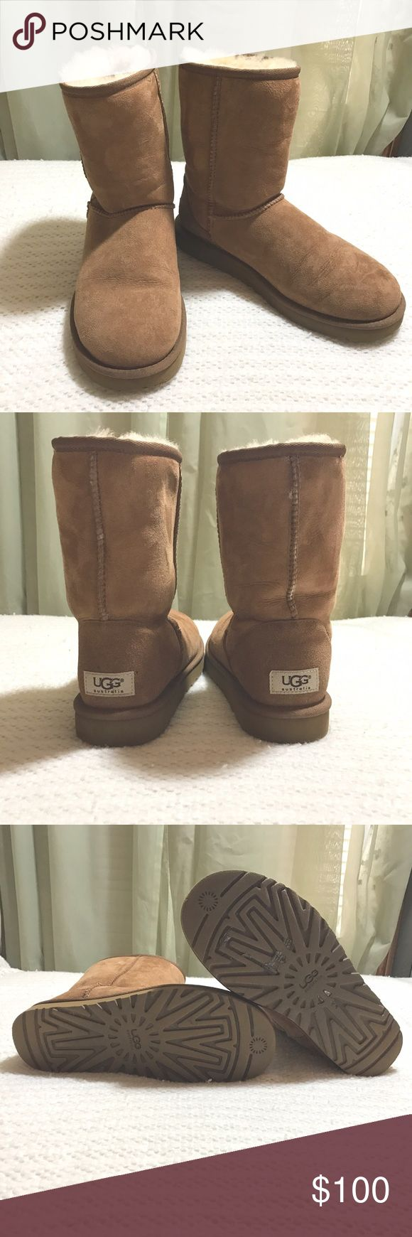Ugg Chestnut Tan Classic Short Boots Like New Authentic Ugg Chestnut Tan Classic Short Boot in Size 8. I purchased these online at Victoria's Secret and wore them once or twice. They are in beautiful condition. I received a new pair similar to these this Christmas so I decided to part with these. These retail for $160. UGG Shoes Winter & Rain Boots