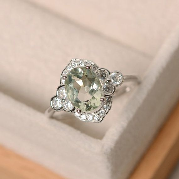 Green amethyst ring silver oval cut engagement ring by LuoJewelry