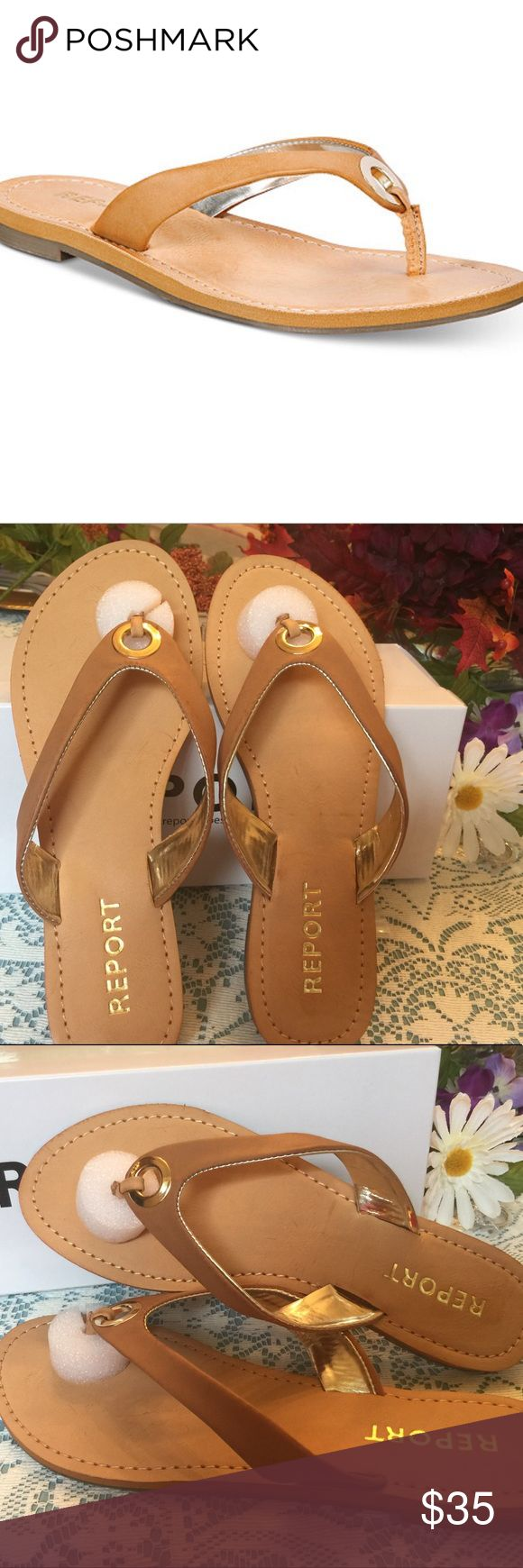Thong Sandals These are by Report. Great camel flip flops with gold metallic hardware right at the Thong. Love these! 🎀🎀 Report Shoes Sandals