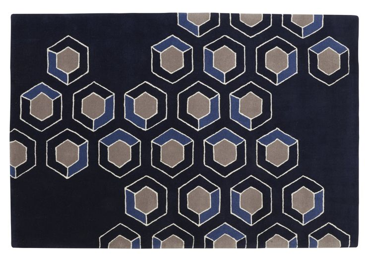 Hix Cloud rug Available in shades of blue as shown or ash greys. We feel an inspiration is the fabulous English 1960s/70s designer David Hicks, but the name Hix refers to an arrangement of hexagons. 100 wool ,  Standard size 2 x 3 m £748, or special size and colours bespoke