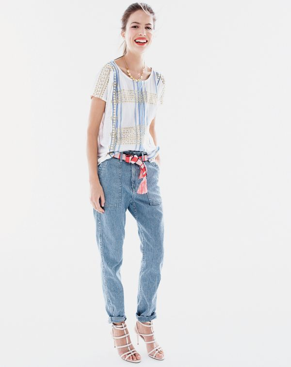 J.Crew women's linen embroidered striped top, Point Sur railroad cargo jean, geometrical cut-out necklace and beaded striped tassel belt.