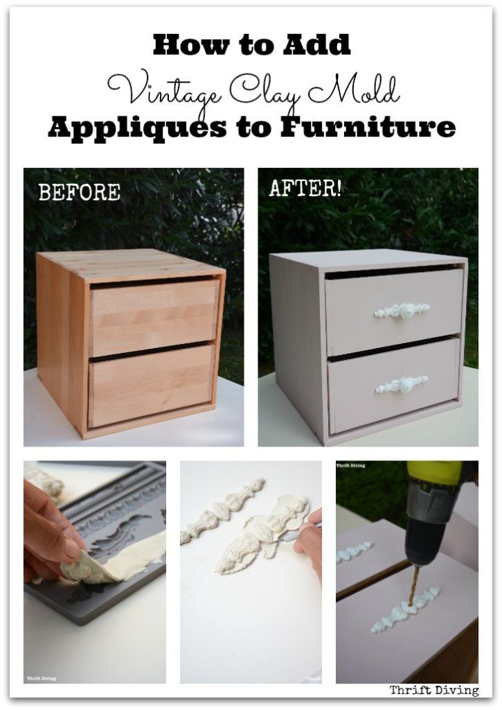 DIY Woodworking Ideas How to Add Vintage Clay Mold Appliques to Furniture