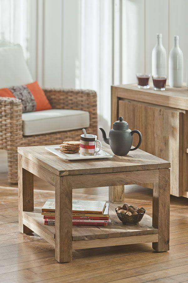 Table Basse Teck Recyclé Brossé 55x55 Au Salon Pinterest Table