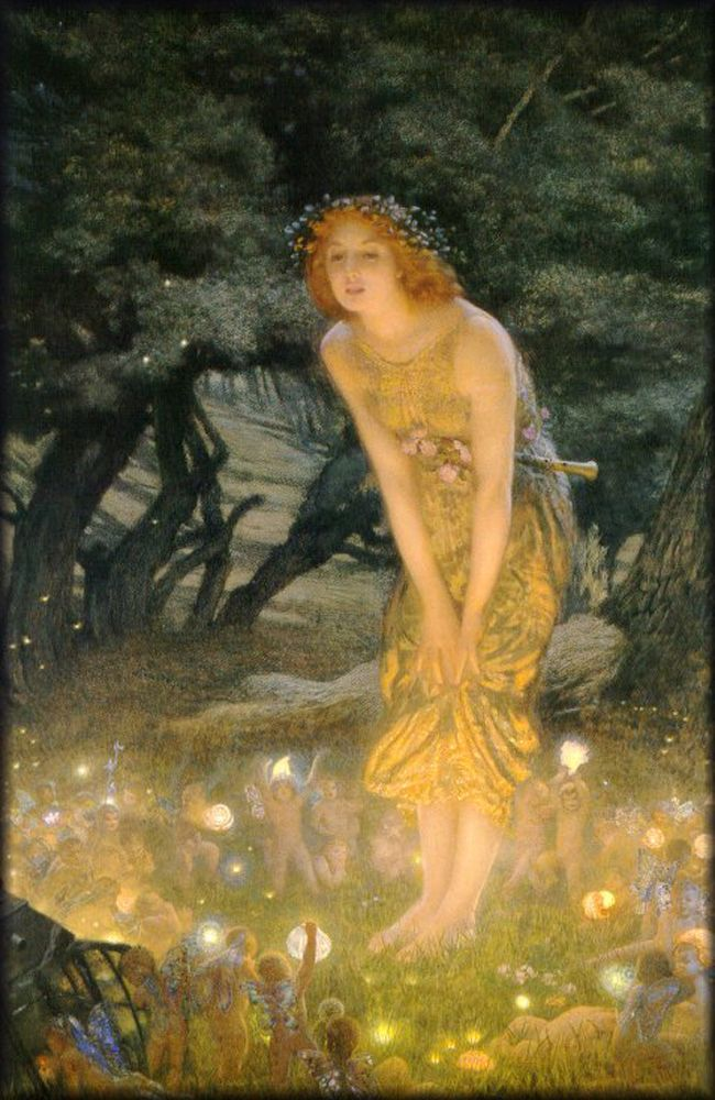 Midsummer eve (1908) Edward Robert Hughes I would be great to create an interpretation of this scene in the gardens.