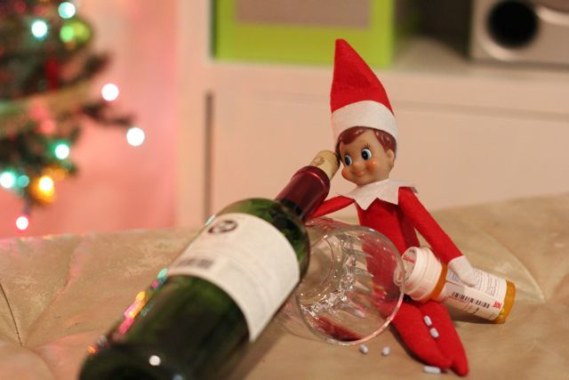 Five inappropriate and possibly traumatizing Elf on the Shelf ideas: Wine, Inappropriate Elf, Adult Elf, Bad Elf, Shelves, Inappropriateelf, Shelf Ideas, High Inappropriate, Naughti Elf