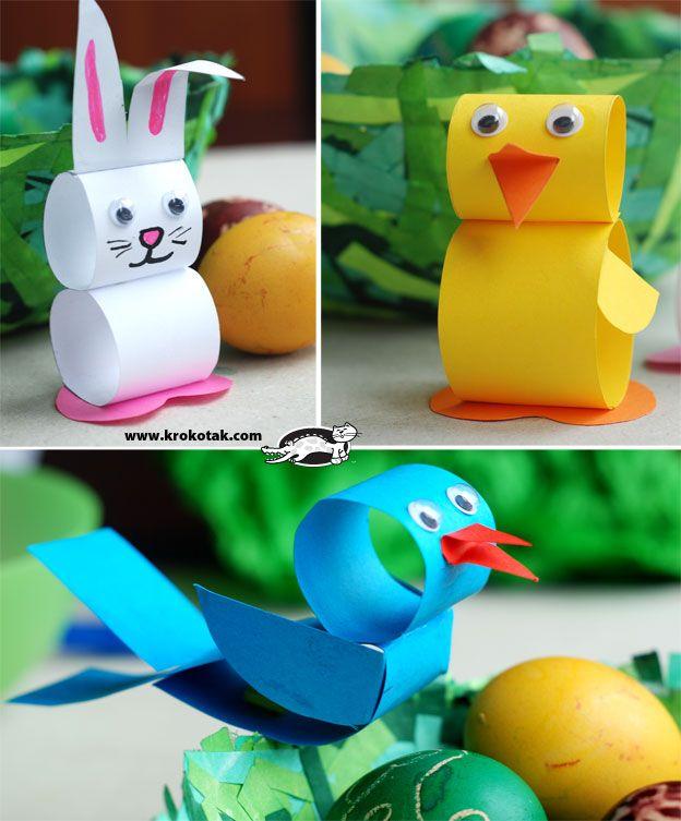 Paper Strip Bunny, Chick, Bluebird