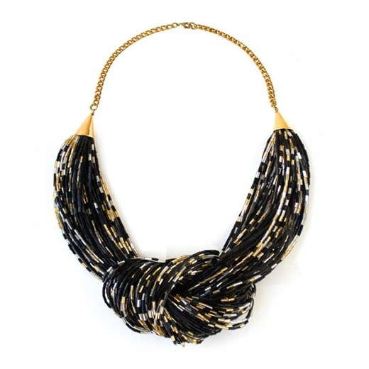 bugle bead knot necklace