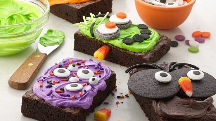 Let your little ones get in on the decorating action by putting out plenty of toppings and allowing them to create their own Halloween brownie masterpiece.