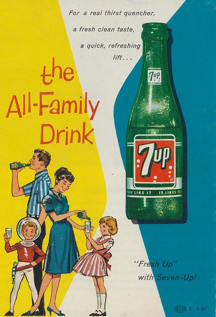 7up - the All-Family Drink - vintage soda ad