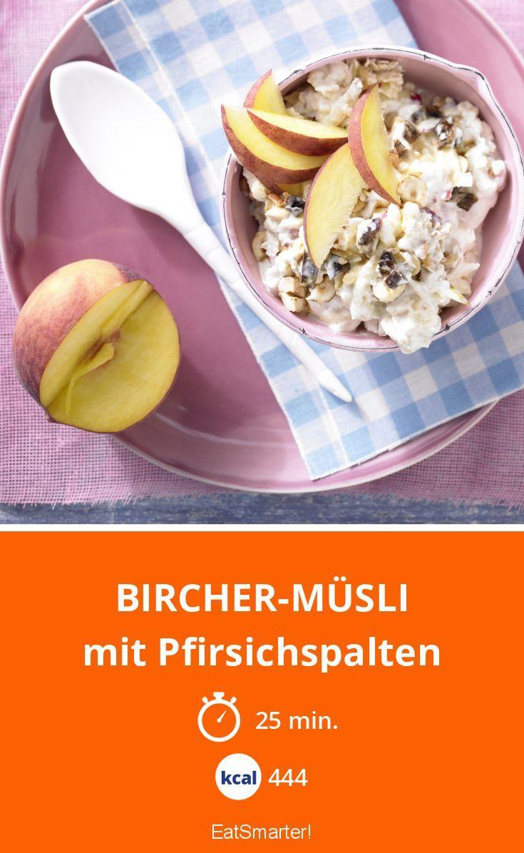 Bircher-Müsli - mit Pfirsichspalten - smarter - Kalorien: 444 Kcal - Zeit: 25 Min.   eatsmarter.de