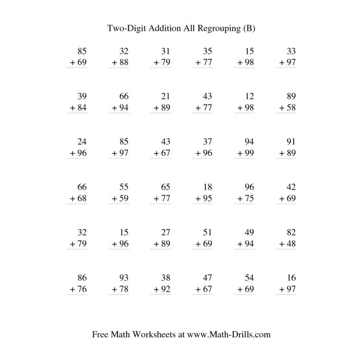 Addition Worksheet TwoDigit Addition Vertical