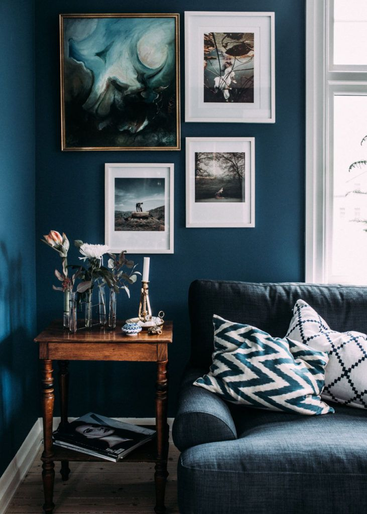 Moody dark blue living