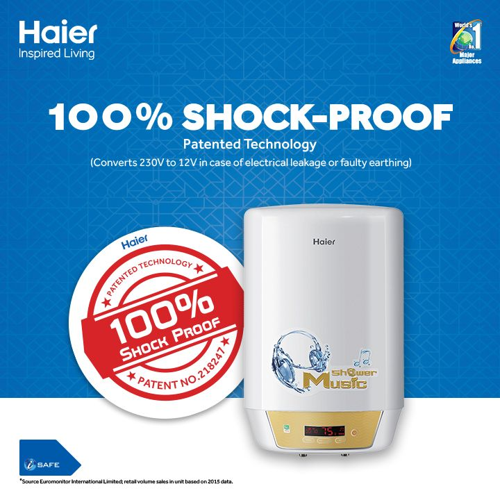 Enjoy your bath without the risk of electric shocks. Haier's Safe Care-Shock Proof #WaterHeater protects you even in case of any electricity problem. #HaierIndia #Technology #Innovation #Lifestyle #InspiredLiving