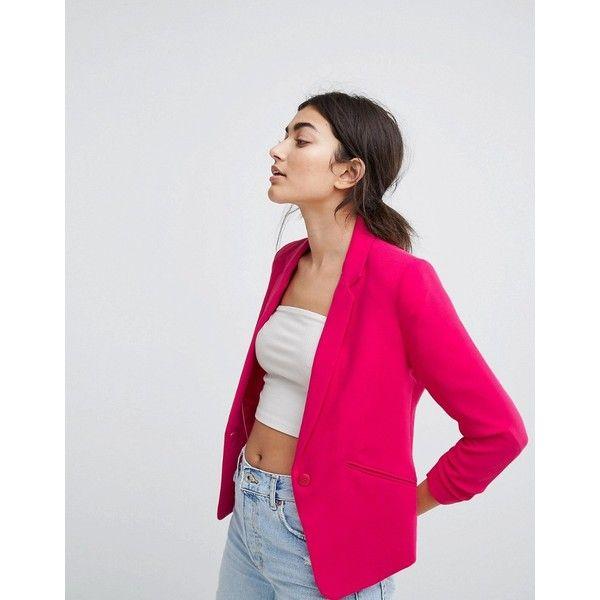Bershka Bright Tailored Blazer (£36) ❤ liked on Polyvore featuring outerwear, jackets, blazers, pink, pink blazer jacket, blazer jacket, bright pink jacket, bright blazer and bershka
