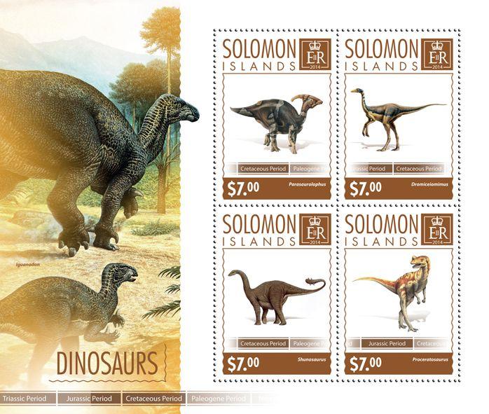Post stamp Solomon Islands SLM 14604 aDinosaurs (Parasaurolophus, {…}, Proceratosaurus)