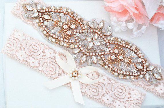 BLUSH PINK Rose Gold Kristall Perle Hochzeit Strumpfband eingestellt, Stretch-Spitzen-Strumpfband, Strass Kristall Braut Strumpfbänder