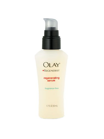"Olay Regenerist Regenerating Serum has the ""same type of peptide for collagen building as far more expensive products,"" says dermatologist Heidi Waldorf"