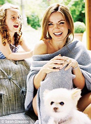 'Bluebell has taught me everything. I can't imagine what my life would have been like without her,' said Geri (pictured with her nine-year-old daughter and one of her two Pomeranian dogs): http://www.dailymail.co.uk/home/event/article-3221171/Geri-Halliwell-marrying-F1-boss-Christian-Horner-perfect-housewife.html
