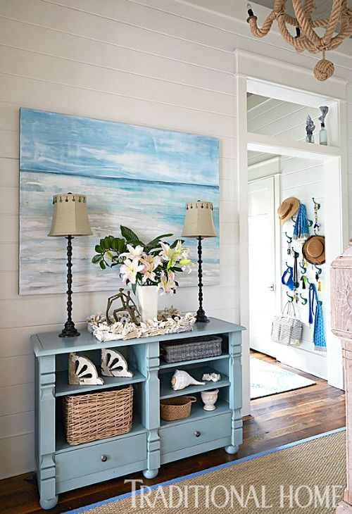 Blue Coastal Ocean Theme Foyer... http://www.completely-coastal.com/2017/01/coastal-beach-house-blue-beige-in-watercolor-Florida.html