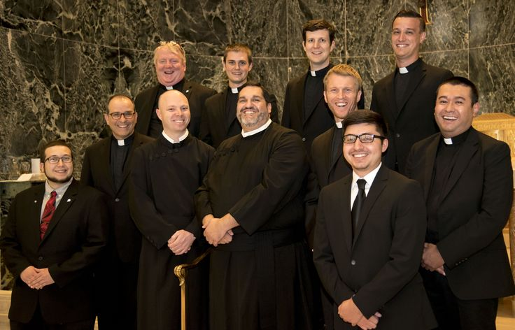 The Paulist Fathers seminarians and novices with our president, Paulist Fr. Eric Andrews, in the chapel of St. Joseph's Seminary in Washington, D.C. Pictured from left: Top row: Richard Whitney, C.S.P.; Evan Cummings, C.S.P.; Paolo Puccini, C.S.P.; Fr. Sam Mattiesen. Middle row: Fr. Andrews, Michael Hennessy, C.S.P.; Ryan Casey, C.S.P.; Michael Cruickshank, C.S.P.; Geno Flores, C.S.P. Front Row: Philip Catalanotto; Eric Hernandez.