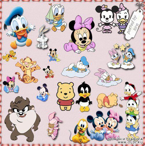 Детский клипарт - Малыши Винни Пух, Микки Маус и другие герои мультфильмов
