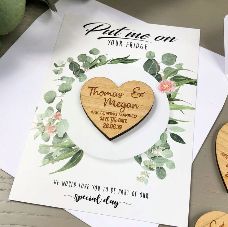 Save The Dates Cards Wedding Personalised Wooden Magnet Fridge Rustic Invitation