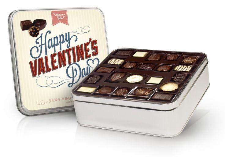 Valentýnská retro bonboniera 640g s belgickými čokoládovými pralinkami