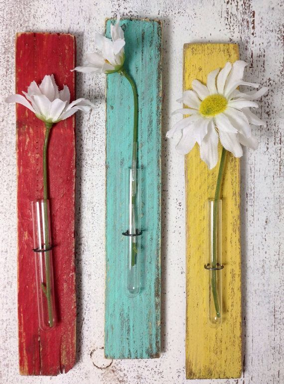 Tiny wall vases - cottage decor shabby rustic vase test tube SET OF THREE red