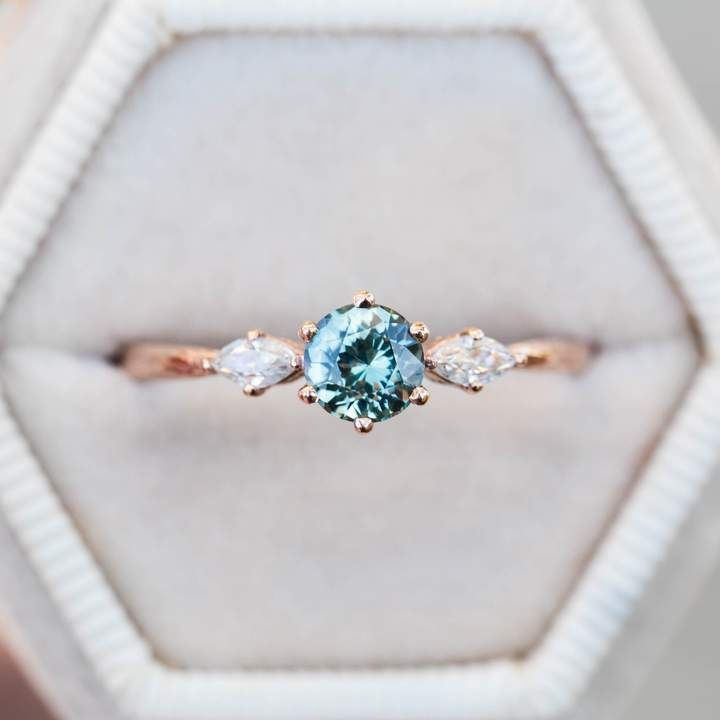 Etsy Teal sapphire marquise twig engagement ring, blue green sapphire engagement…