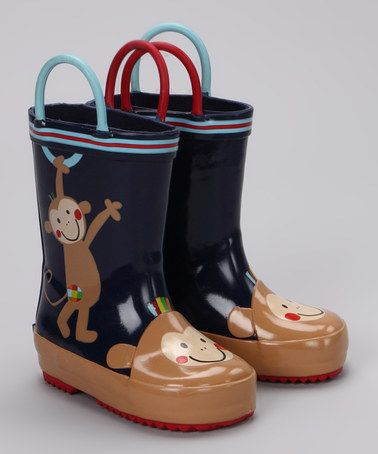 Take a look at this Blue Monkey Rain Boot by Lazoo on #zulily today!