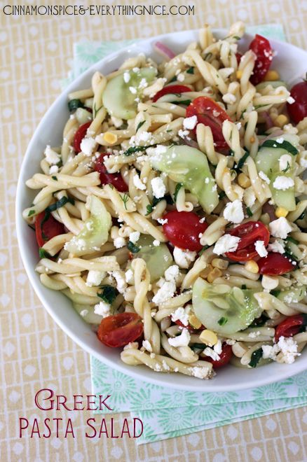 GREEK PASTA SALAD - tried on 8/22/13 and was pretty good, just be sure to add enough lemon to give the dressing flavor