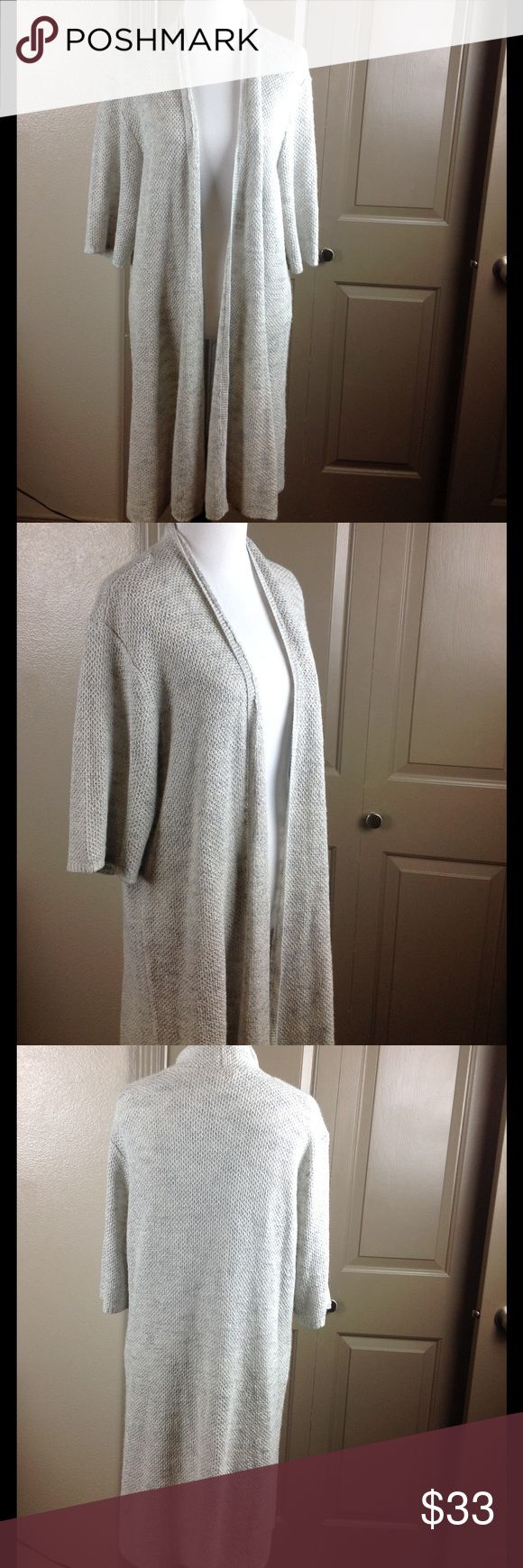 Eileen Fisher Open Cardigan XL Silver Linen Blend Great condition 1/2 sleeve 48/37/15 linen/viscose/nylon hand rash 37 inch length 24 bust Eileen Fisher Sweaters Cardigans