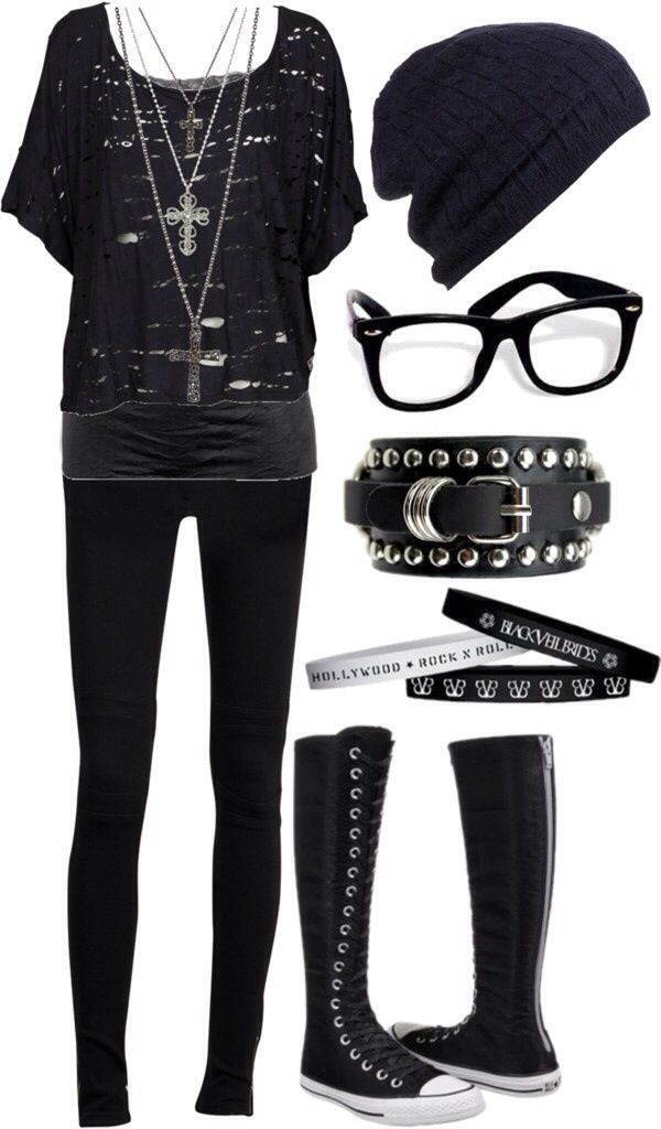 Minus the glasses boots bvb writsbands and big crosses I'd wear this with army boots and a choker