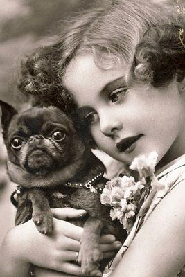 charming child with a pug