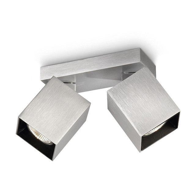 Philips - 531324816 - Plafonnier myLiving 2 spots 2 x 35 W               Philips myLiving Modern est une gamme de spots emblématique, alliant une forme et une fonction impeccables, qui s'intègre parfaitement dans les intérieurs minimalistes.                   Indice de protection (IP) IP20       Poids 1.1 kilogrammes       Style Moderne       Couleur Aluminium       Forme Square       Materiau Metal       Nombre d'ampoules 2       Volt 230       Usages spécifiques Usage intérieur un...