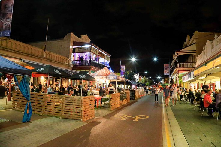 Sundays on the Strip creates a vibrant atmosphere in Fremantle on Sundays where the street is closed off to cars and the restaurants spill out onto the streets.