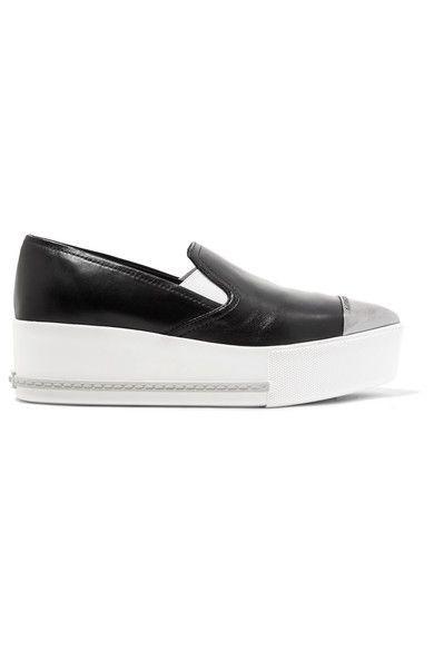 Miu Miu - Metal-trimmed Leather Platform Slip-on Sneakers - Black - IT37.5