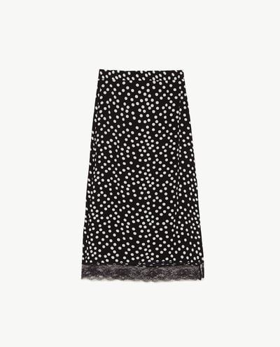 MIDI SKIRT WITH LACE TRIM-SKIRTS-WOMAN | ZARA United TABITHA  WILLET