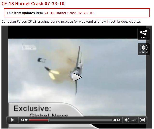 Tail Number (738): CF-18 Hornet Crash 07-23-2010 (Video) at LiveLeak.com