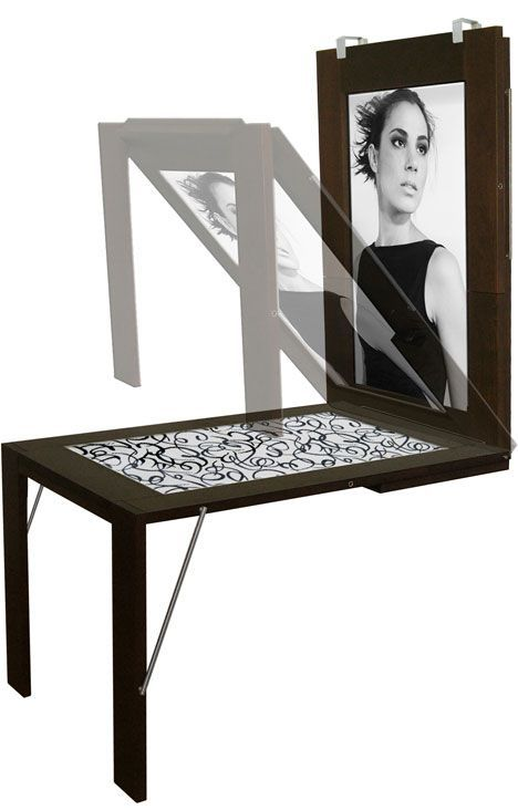 Fold-down wall mounted table turns into a picture frame. Ikea should do one for kids so they can do art on the table and then slip their creations right into the frame. [only]1,440 Euros #Christmas #thanksgiving #Holiday #quote