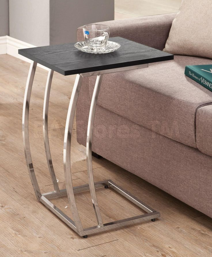 Snack Table with a Sturdy Champagne Nickel Base