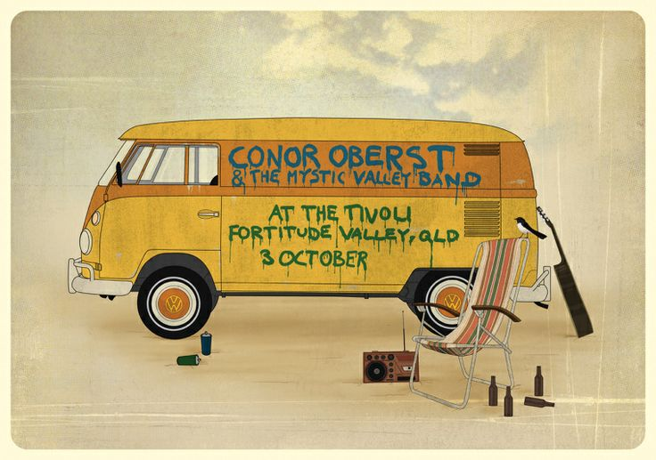 Conor Oberst & The Mystic Valley Band Gig Poster - Dagron / Graphic Design and Illustration by Bjørn Andreas Maurseth
